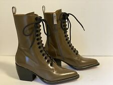 CHLOE RYLEE CACAO/BROWN LEATHER LACE UP ANKLE BOOTS, SOZE 35.5