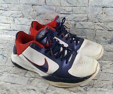 Nike Zoom Kobe V 5 Shoes Sz 9.5 USA Gold Medal Olympic White Red Blue 386429-103
