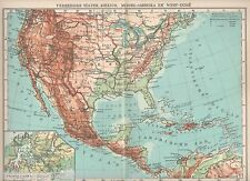 Antique map North America Mexico West Indies Panama canal 1932 United States