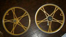 "NOS Yellow Lester Old School 20"" Mag BMX Bike Sachs Coaster Bike Wheel Set"