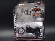 2002 FXSTB Nuit Train Harley Davidson Moto Maisto 1:24 Modèle Moulé Vélo