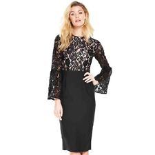 BNWT V By Very Lace Top Midi Dress Black UK 16 RRP £70