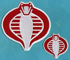 "GI Joe Stormshadow Fully Embroidered Red & White 6"" & 3"" Cobra Iron-On Patch Set"