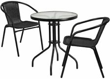 23.75'' Round Glass Metal Table with 2 Black Rattan Stack Chairs New