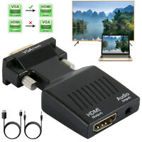 VGA To HDMI Adapter Full HD 1080P Audio Video Converter Laptop PC To TV AV HDTV