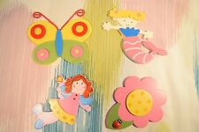 4 x Children's Wooden Sml Fairy Mermaid Flower Wall Plaques! Girl Decorations!