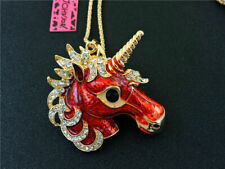 Betsey Johnson Lovely Red Crystal Unicorn Horse Pendant Chain Animal Necklace