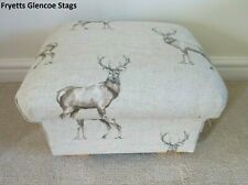 Storage Footstool Fryetts Glencoe Stag Fabric Pouffe Footstall Natural Beige New