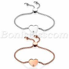 Charms Freely Adjustable Bracelet Chain 2pcs Women's Stainless Steel Love Heart
