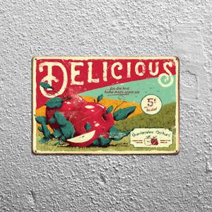 Metal Tin Sign delicious apple Decor Bar Pub Home Vintage Retro Poster