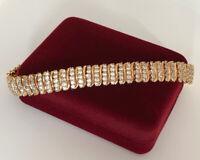 Luxus Armband Armkette mit Swarovski Kristallen 750er Gold 18K vergoldet 17-19cm