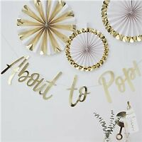 Gold Foil About to Pop Bunting Banner Oh Baby Shower Party Decor Garland - 1.5m