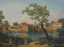 WALL JACQUARD WOVEN TAPESTRY River View - Padua,Italy EUROPEAN LANDSCAPE PICTURE