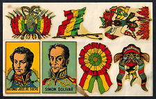 BOLIVIA Sheet of 7 Diff Vintage Water Slide Decals FLAGS De Sucre SIMON BOLIVAR