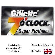 GILLETTE 7'0 CLOCK  SMOOTH SUPER PLATINUM DE DOUBLE EDGE RAZOR SHAVING BLADES