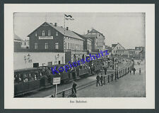 Orig. Photo Printing Station Borkum North Sea Railway Narrow Gauge Hotel passengers 1913