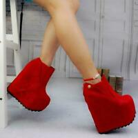 Womens Super High Wedge Heel Platform Clubwear Pump Shoes Round Toe Ankle Boots