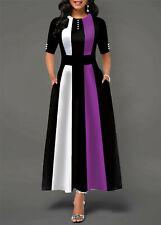 Women's Winter Boho Striped Half Sleeve Long Maxi Dress Party Beach Sundress USA