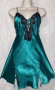VTG S Emerald Green Satin Fredericks Of Hollywood Babydoll Nightie Black Lace