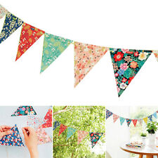12 Flags Floral Paper Bunting Vintage Shabby Chic Birthday Wedding Party  R