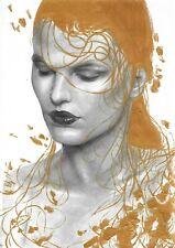 original drawing A4 226GK art samovar Graphite and gold female portrait Realism