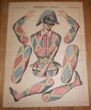 c1890 Antique Paper Toy Sheet  Imagerie D'Epinal Arlequin Pantin Pellerin