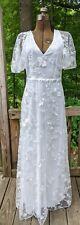 NWOT Short Sleeve Embroidered Flower Tulle Wedding Dress Sz 6 S-M Low Zip Back