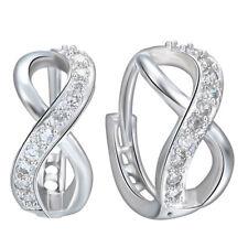 Gemstone Stud Earring Wedding Birthday 1pair 925 Silver Fillled Infinity Topaz