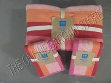 Pottery Barn Teen Henley Stripe Bed Dorm Quilt Full Queen FQ Shams Pink Coral