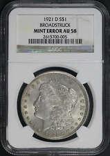 1921-D Morgan Dollar Broadstruck Mint Error NGC AU-58