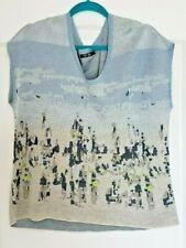 Nic + Zoe Intarsia Blue Linen-Blend Knit Sweater Sleeveless Top L SALE