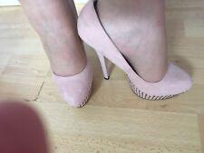 New KC Diamanté Platform & High Heel Beige Tan Nude Gem Look Stiletto Shoe 3
