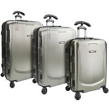 Palencia II Silver 3pc Anti-Theft Zippper Luggage TSA Lock Spinner Suitcase Set
