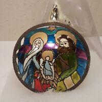 Vintage Jumbo Nativity Christmas Ornament Glass Austria Mary Joseph Jesus Shiny