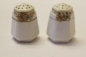 Antique Nippon Porcelain Gold Moriage Hand Painted Salt Pepper...