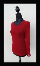 Pull voile, sous pull T38 rouge, manches longues, brodé