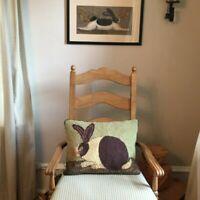 Hand Hooked Wool Bunny Rabbit Hare Accent Pillow- Warren Kimball