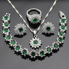 Green Emerald White Topaz 925 Silver Necklace Pendant Earrings Ring Bracelet