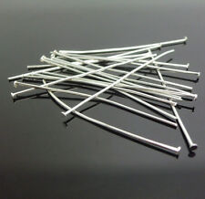 200PCS Wholesale 50MM Design Finding 925 Silver Plate Flat Head Pins Needles