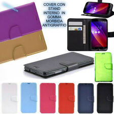 Flip Cover a Libro Slim Card in Eco Pelle per Samsung Galaxy Core Gt-i8260 I8262 Blu