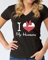 I Love My Husband V-NECK WOMEN T-Shirt Cartoon Character Bow Heart Ladies Shirt