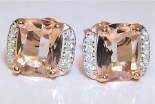 9ct Rose Gold on 925 Solid Silver Morganite & Diamond Ladies Stud Earrings