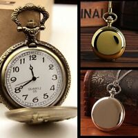Vintage Analogue Quartz Pocket Watch Antique Style On Chain Necklace Pendant New