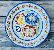 Quimper Pottery France Fluted Edge Hand Painted Faience Floral Dinner Plate