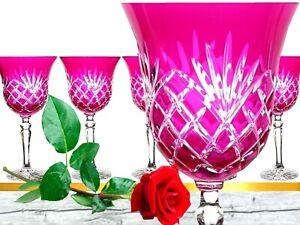 Lead Glass Wine Glasses Roman 6 Pieces (421X KK ), Pink Crystal Wine Lens