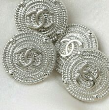 New listing Chanel Buttons 4pc Cc Silver 19 mm Unstamped Vintage Style4 Buttons Auth!
