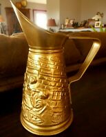 """Brass ? Pitcher Relief Vintage Floral Vase Flowers Made in England apx 8.5"""" tall"""