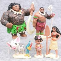 6Pcs/Set Cartoon Moana Action FigureToys Cake Topper Collection Kid Xmas Gifts