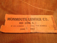 Vintage MONMOUTH LUMBER COMPANY Red Bank New Jersey RARE Matchbook Matchcover