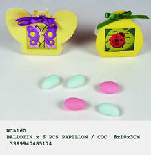bomboniera 6 scatoline portaconfetti farfalla e coccinella con nastrino raso